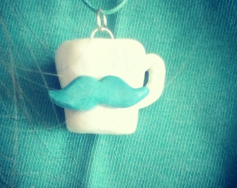 Necklace cup with mustache from polymer clay