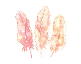 Pink Feathers Watercolor Print