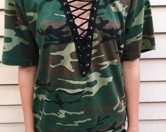 LF Inspired Camouflage Black Lace up t shirt