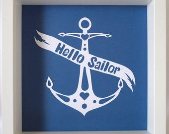 Hello Sailor! Lovely tattoo art paper cut. Available in a range of colours.