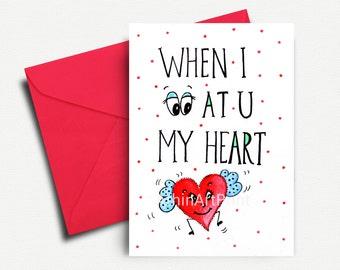 Valentine Ausdrucke, Druckbare Liebeskarte, Valentinstag Karte, Liebe,  Funny Valentine, Valentinstag