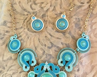 USA FREE SHIPPING!! Native American Green Blue Jewelry Set Costume/Fashion