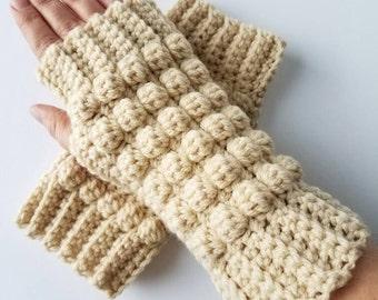 Fingerless gloves PATTERN: bobble fingerless hand warmers.