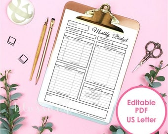 Monthly budget planner insert, editable and printable. Month expenses register for binder. US Letter (8.5x11) Size. Instant download.