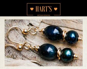 Blue Tiger Eye Pearl 14K Gold Earrings