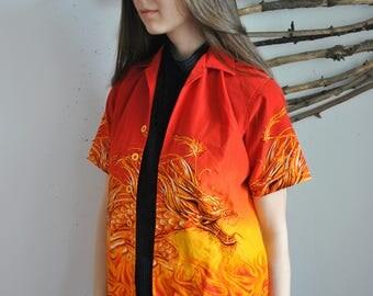 Vintage dragon shirt 1990s chinese print fire polo