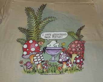 70s Snoopy And Woodstock T Shirt By Saturdays In California Size Medium