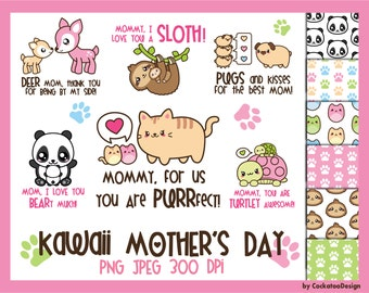 50% OFF, Mother's Day clipart, kawaii clipart, digital paper, kawaii clip art, kawaii animals clipart, sloth clipart, Commercial use