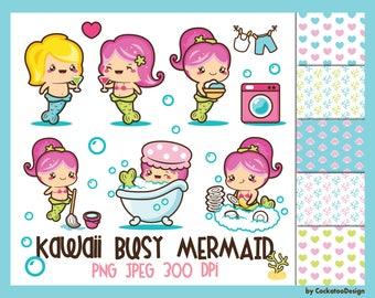 50% OFF, Mermaid clipart, kawaii mermaid clipart, mermaid clip art, cute mermaid clipart, clipart mermaid, kawaii mermaid art, digital paper