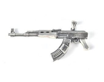 AK-47 gun pendant in sterling silver | Silver gun pendant | AK-47 gun pendant