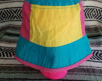 Vintage 80s 90s Neon Color Block Bucket Hat