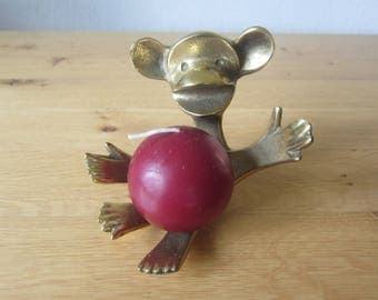 "Mid century modern 50s Walter Bosse design candle holder ""Sitting monkey"" brass"