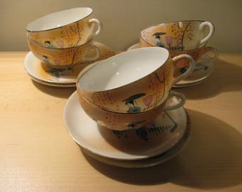 6 antique Japanese tea cups with saucer approx 1900!