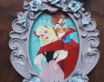 Briar Rose - Why, We've Met Before / original  Canvas Customs painting inspired by Disney's Sleeping Beauty