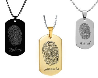 Personalized Finger Print Dog Tag w/ Name - Laser Engraved Finger Print Dog Tag