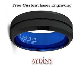 Mens 8mm Wedding Band Black Tungsten Ring Groove Beveled Edge Blue Comfort Fit Tungsten Carbide Wedding Ring