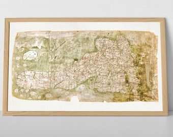 The 'Gough' Map of Britain  - Archival Quality Reproduction of Old UK Map, Bodleian | Fine Art Giclée Print, old vintage rustic map of uk