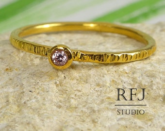 Yellow Gold Textured Pink Diamond Ring, 24K Gold Plated 2 mm Lab Pink Diamond April Birthstone Ring, Stacking Gold  Pink Diamond Ring