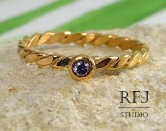 Rose Gold Flat Twisted Amethyst Ring, Purple 2mm CZ February Birthstone Lab Amethyst 14K Gold Plated Ring Rose Gold  Cubic Zirconia Ring