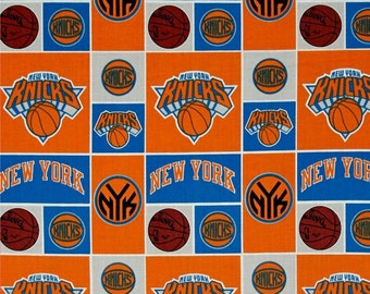 """NBA Fabric, Basketball Fabric: NBA Sports Broadcloth - New York Knicks Patch by Camelot 100% cotton Fabric by the yard 36""""x44""""  (CA392)"""