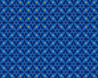 "Geometric Fabric: CELESTIAL Sol Star GEOMETRIC on dark blue by Quilting Treasures 100% cotton fabric by the yard 36""x43"" (N551)"