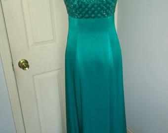 Vintage Beaded Teal Casadei Dress