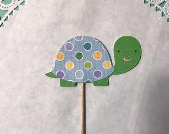 Turtle Cupcake Toppers, turtle diecut, turtle cake topper, baby shower decoration, forest animals, Woodland animals, set of 12.