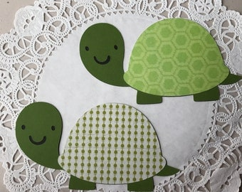 Turtles die cuts, Green Turtles, Die Cuts, baby shower decorations, invitations, card making, Favors, diaper cake, set of 2 single sided