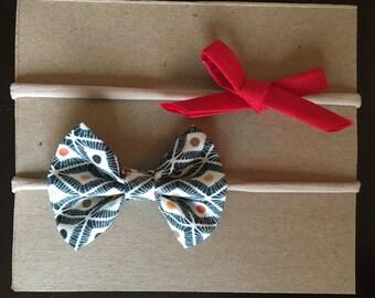 Navy and red nylon headband set