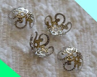 Flower Bead Caps, Filigree Bead Caps, Hollow Flower End Spacer, 10x4mm Dark Silver Tone Metal Bead Caps, Beading Findings, DIY Jewelry