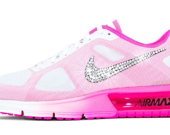 Swarovski Nike Shoes Women's Nike Air Max Sequent Crystal Rhinestones Bling Running Tennis Shoes Authentic New in Box