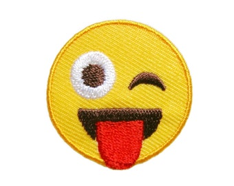 Smiley Smile Yellow Face Emoji Embroidered Applique Iron on Patch 3.5 cm. x 3.5 cm.