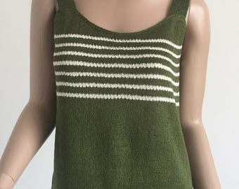 Summer knitted tank top.Sleeveless knit tank top.Knitted top gift for her.Knit camisole.Handknit top.Summer hand knit.Sleeveless knit top.