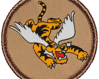 Flying Tiger Patch (627) 2 Inch Diameter Woven Patch