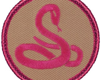 Pink Mamba Patch (538A) 2 Inch Diameter Embroidered Patch