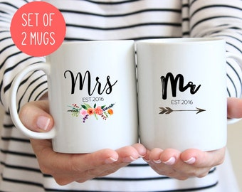 Mr and Mrs Couples mugs, Wedding gift, His and hers mugs (M381 M408 2D)