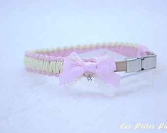Small dog collar light pink and pale yellow