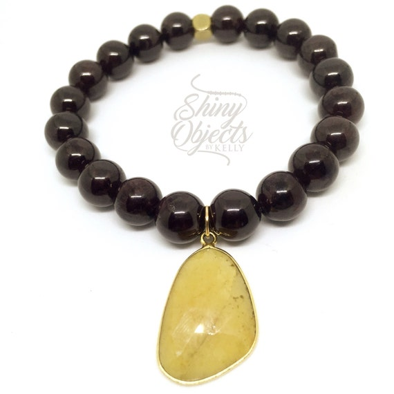 Garnet Bracelet with Gold Plated Sapphire Pendant
