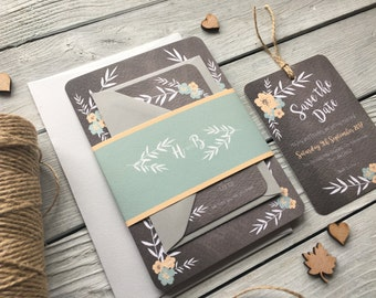 Floral Chalkboard Wedding Invitation Set - Sample Only