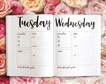 """Daily Dateless Planner - 8.5X11"""" - Handwritten Font - 52 Weeks - Motivational Quote - Priorities - Notes - Schedule - Daily Organizer"""