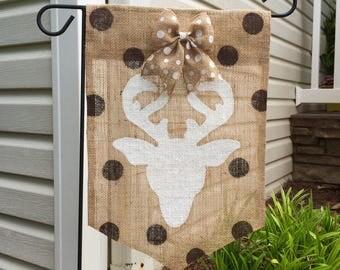 Deer Head Burlap Garden Flag