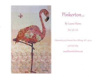 Pinkerton flamingo collage pattern from Fiberworks, by Laura Heine,
