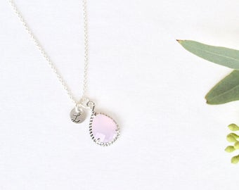 Ice Pink Drop Necklace | Bridesmaid Necklace | Sterling Silver | Simple Jewelry | Custom Bridesmaid Jewelry