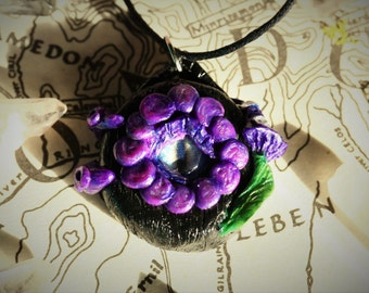 Hobbit Door Lord of the Rings Necklace, Eye of Sauron Dragon Eye Fantasy Magical Polymer Clay Pendant, OOAK