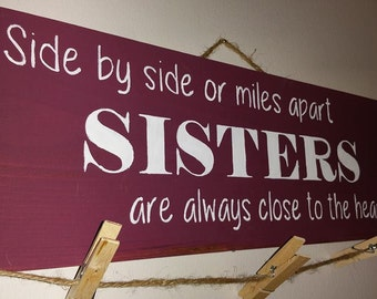 Sister sign, rustic, picture hanger, twine, farmhouse, great gift, family