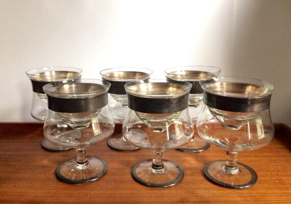 silver banded shrimp cocktail glasses set of 6 mid century. Black Bedroom Furniture Sets. Home Design Ideas