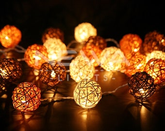 20 Brown White Rattan Ball Fairy Lights Indoor String Lights Christmas Light Gift Bedroom Patio Party Wall Hanging Vintage Rustic Home Decor