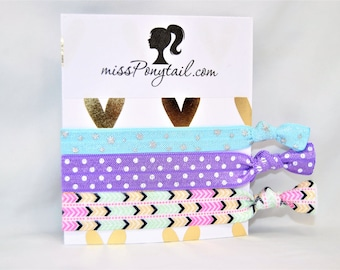 Elastic Hair Ties, Chevron Hair Ties, Birthday Favors, Slumber Party Gifts, Knotted, Girls Hair Ties, Ribbon, Ponytails missponytail
