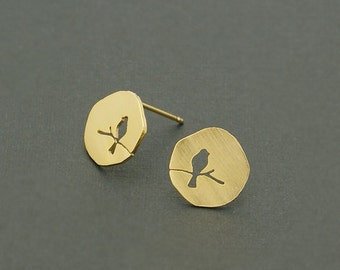 Bird on Branch Handmade Bluebird Stud Earrings Etched Gold