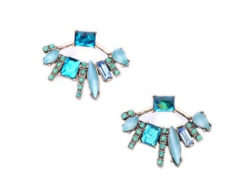 Aquamarine Detachable Fan Earrings